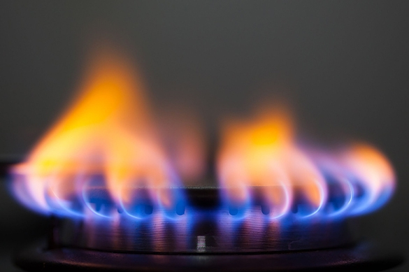 Orange and Yellow Flames on a Gas Range